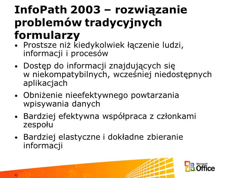InfoPath 2003 – rozwiązanie problemów tradycyjnych formularzy