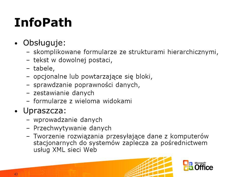InfoPath Obsługuje: Upraszcza: