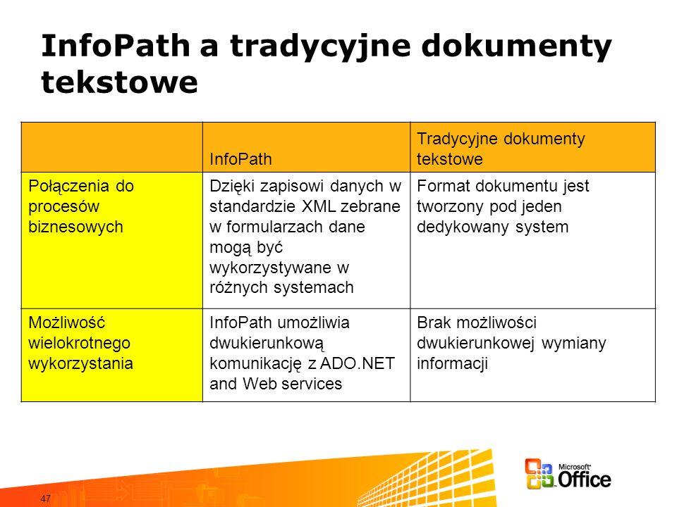 InfoPath a tradycyjne dokumenty tekstowe