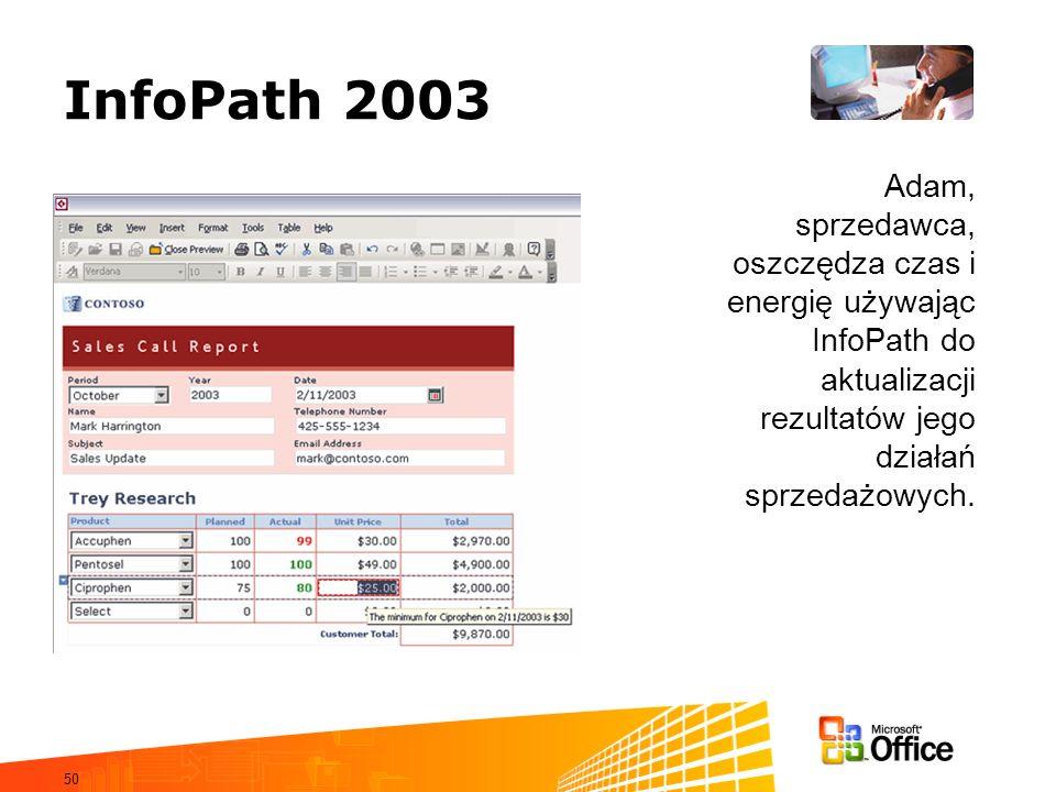 InfoPath 2003 Adam, sprzedawca, oszczędza czas i energię używając InfoPath do aktualizacji rezultatów jego działań sprzedażowych.