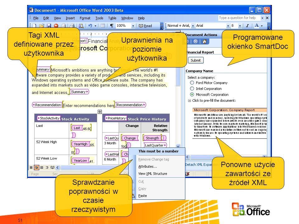 Tagi XML definiowane przez użytkownika Programowane okienko SmartDoc