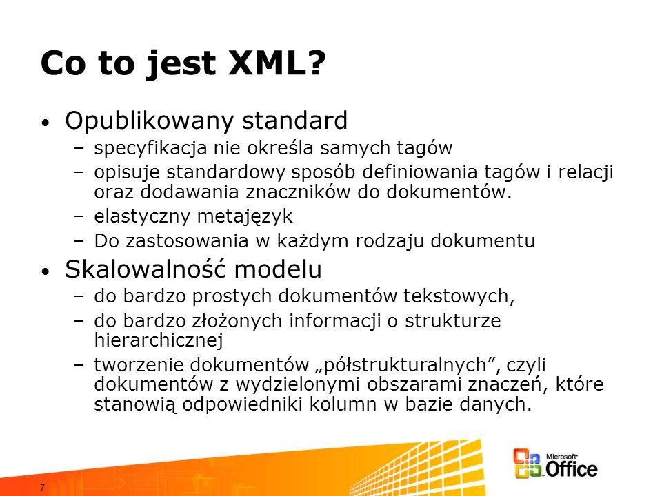 Co to jest XML Opublikowany standard Skalowalność modelu