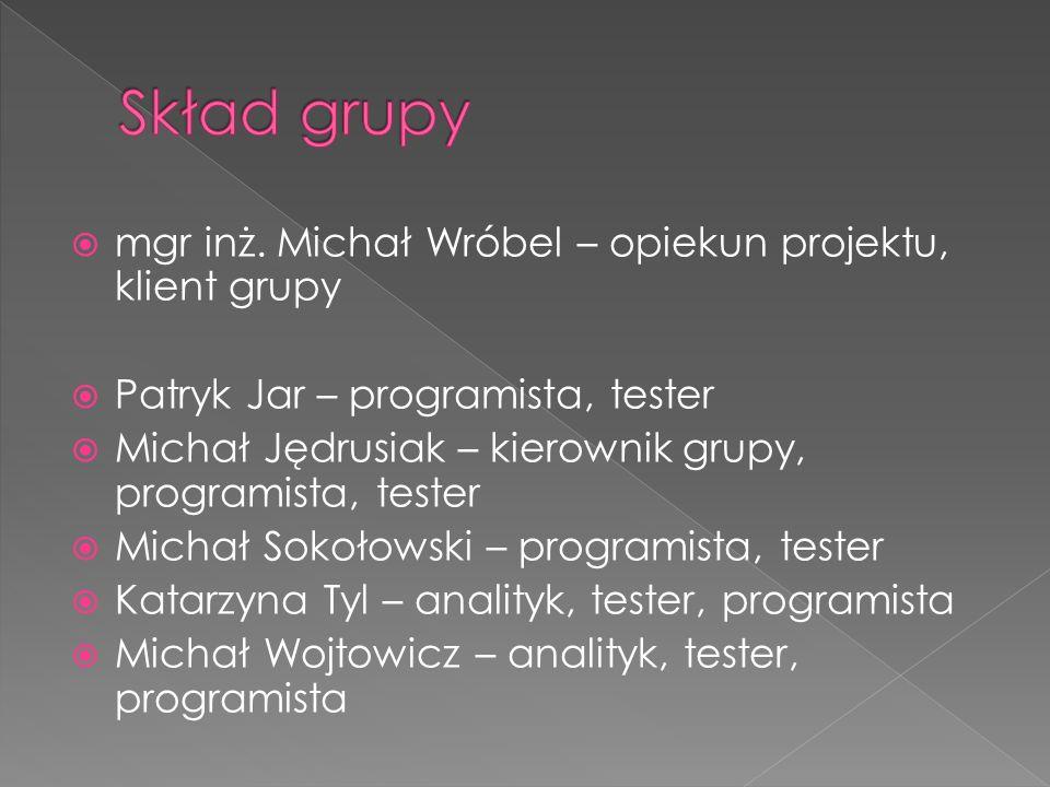 Skład grupy mgr inż. Michał Wróbel – opiekun projektu, klient grupy