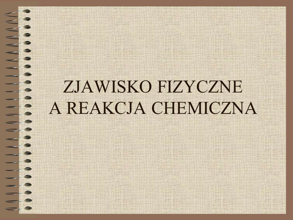 ZJAWISKO FIZYCZNE A REAKCJA CHEMICZNA