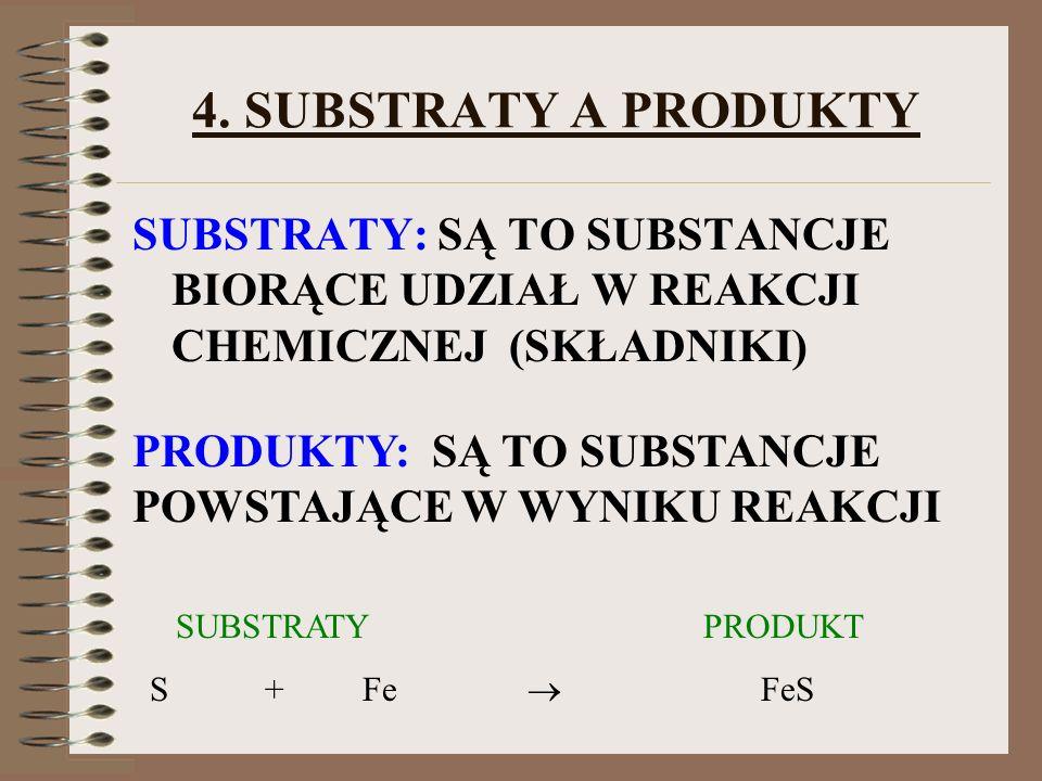 4. SUBSTRATY A PRODUKTYSUBSTRATY: SĄ TO SUBSTANCJE BIORĄCE UDZIAŁ W REAKCJI CHEMICZNEJ (SKŁADNIKI)