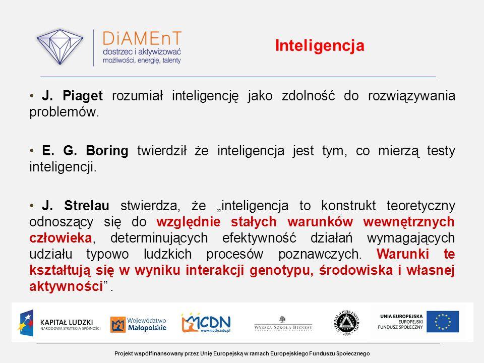 Inteligencja J. Piaget rozumiał inteligencję jako zdolność do rozwiązywania problemów.