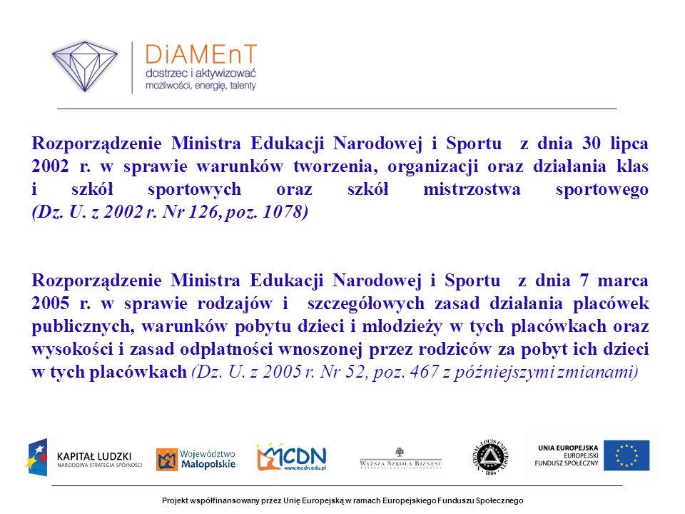 Rozporządzenie Ministra Edukacji Narodowej i Sportu z dnia 30 lipca 2002 r. w sprawie warunków tworzenia, organizacji oraz działania klas i szkół sportowych oraz szkół mistrzostwa sportowego (Dz. U. z 2002 r. Nr 126, poz. 1078)