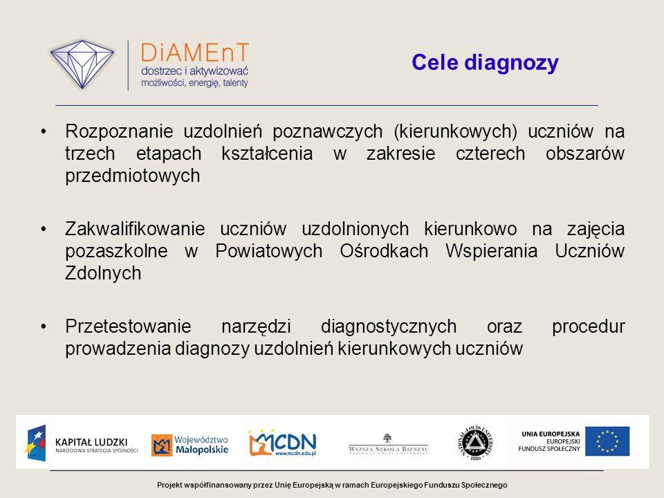 Cele diagnozyRozpoznanie uzdolnień poznawczych (kierunkowych) uczniów na trzech etapach kształcenia w zakresie czterech obszarów przedmiotowych.