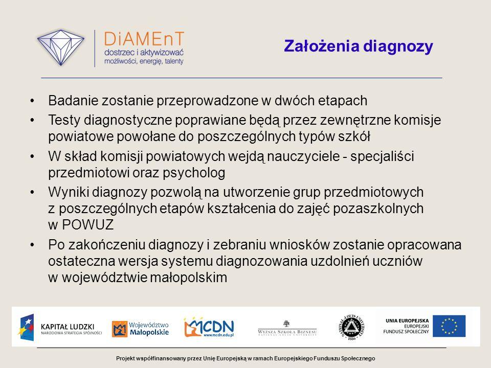 Założenia diagnozy Badanie zostanie przeprowadzone w dwóch etapach