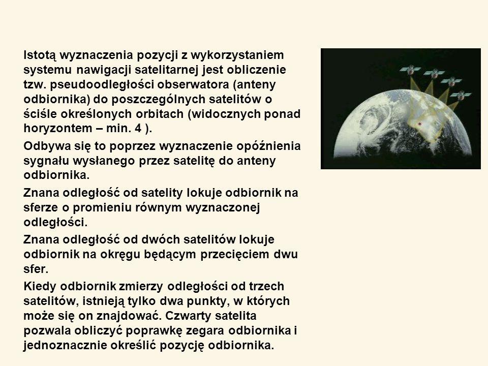 Istotą wyznaczenia pozycji z wykorzystaniem systemu nawigacji satelitarnej jest obliczenie tzw. pseudoodległości obserwatora (anteny odbiornika) do poszczególnych satelitów o ściśle określonych orbitach (widocznych ponad horyzontem – min. 4 ).
