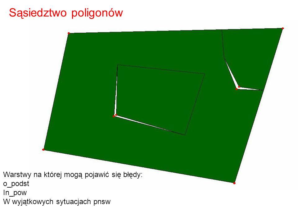 Sąsiedztwo poligonów Warstwy na której mogą pojawić się błędy: o_podst
