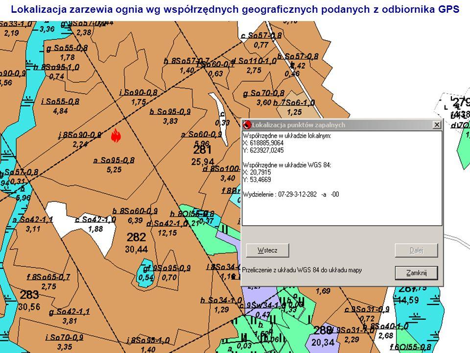 Lokalizacja zarzewia ognia wg współrzędnych geograficznych podanych z odbiornika GPS