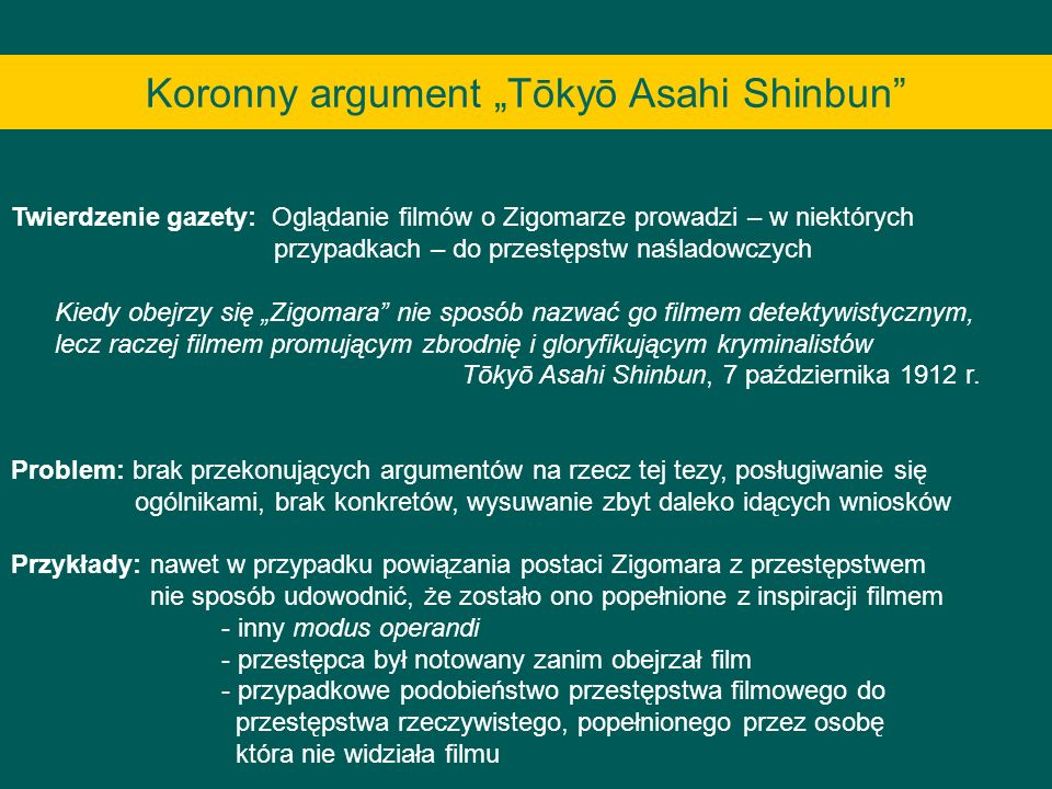 "Koronny argument ""Tōkyō Asahi Shinbun"