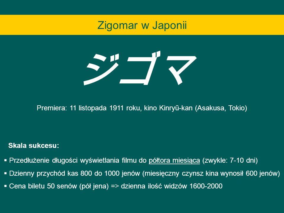 Premiera: 11 listopada 1911 roku, kino Kinryū-kan (Asakusa, Tokio)