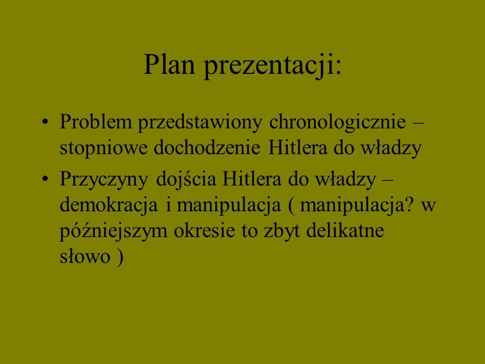 Plan prezentacji: Problem przedstawiony chronologicznie – stopniowe dochodzenie Hitlera do władzy.