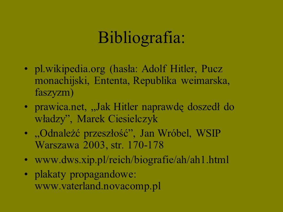 Bibliografia:pl.wikipedia.org (hasła: Adolf Hitler, Pucz monachijski, Ententa, Republika weimarska, faszyzm)