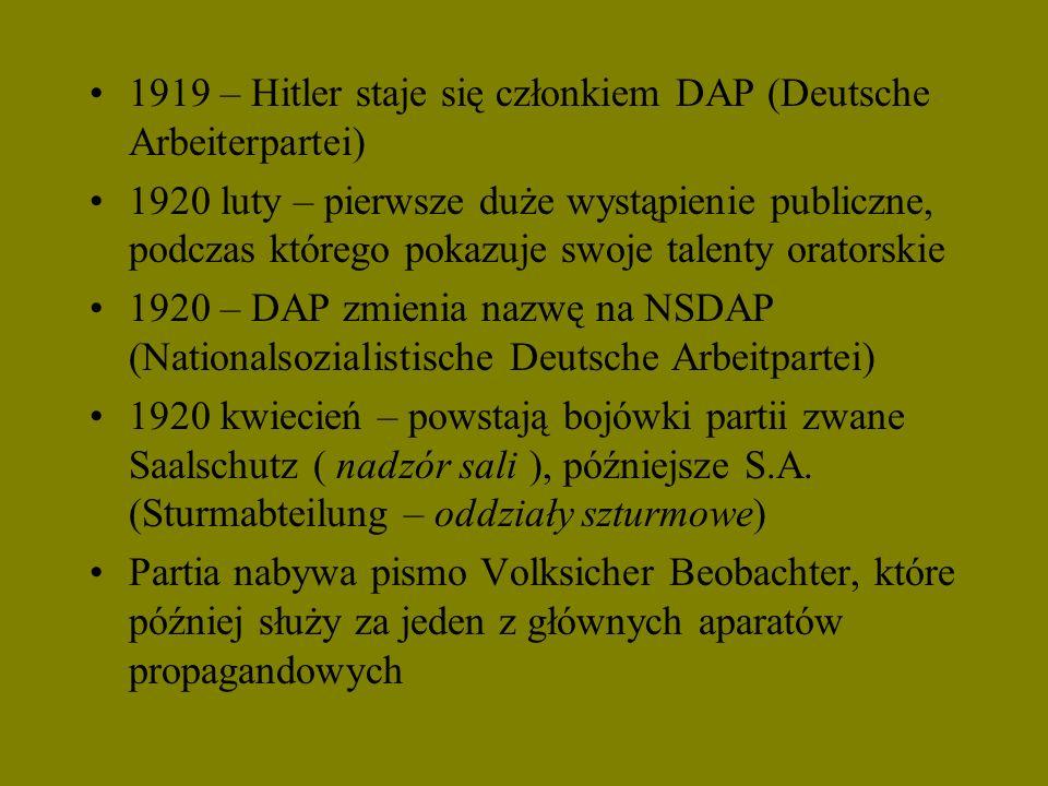 1919 – Hitler staje się członkiem DAP (Deutsche Arbeiterpartei)