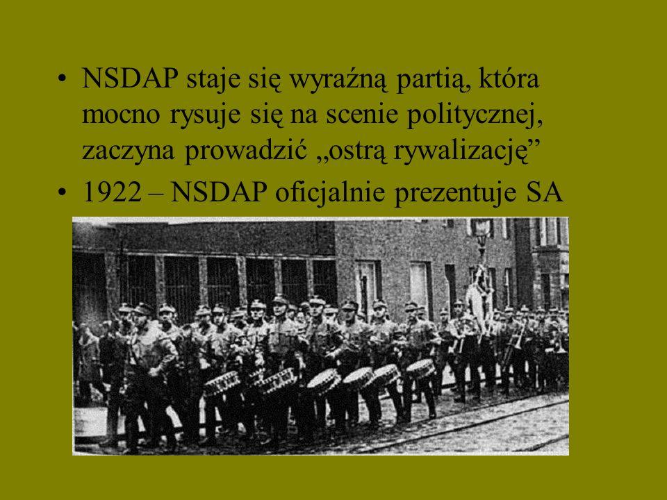"""NSDAP staje się wyraźną partią, która mocno rysuje się na scenie politycznej, zaczyna prowadzić """"ostrą rywalizację"""