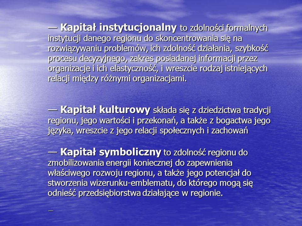 — Kapitał instytucjonalny to zdolności formalnych instytucji danego regionu do skoncentrowania się na rozwiązywaniu problemów, ich zdolność działania, szybkość procesu decyzyjnego, zakres posiadanej informacji przez organizacje i ich elastyczność, i wreszcie rodzaj istniejących relacji między różnymi organizacjami.