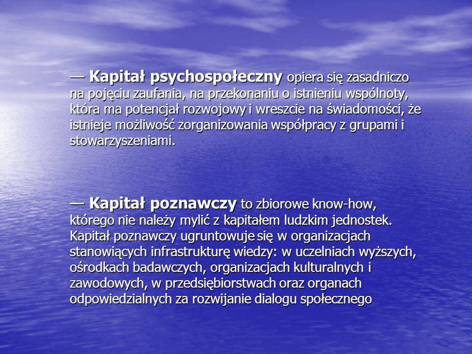 — Kapitał psychospołeczny opiera się zasadniczo na pojęciu zaufania, na przekonaniu o istnieniu wspólnoty, która ma potencjał rozwojowy i wreszcie na świadomości, że istnieje możliwość zorganizowania współpracy z grupami i stowarzyszeniami.