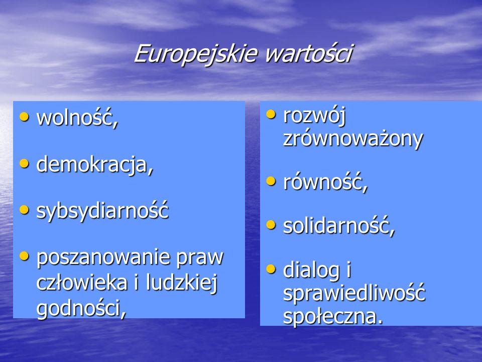 Europejskie wartości wolność, demokracja, sybsydiarność