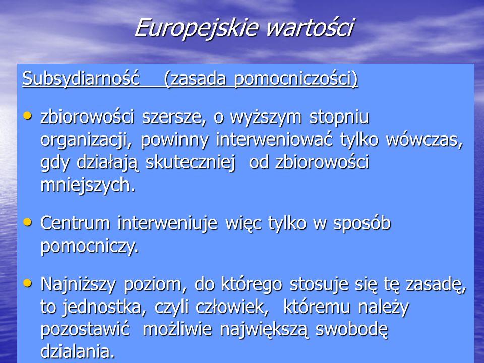 Europejskie wartości Subsydiarność (zasada pomocniczości)
