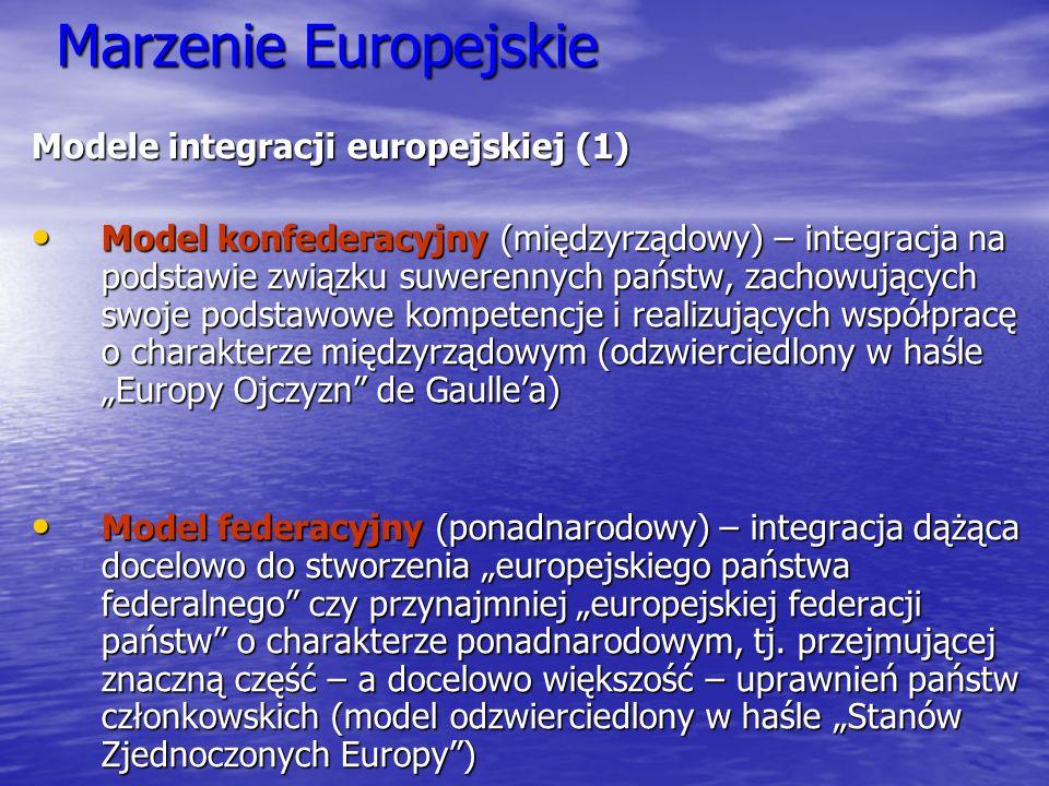 Marzenie Europejskie Modele integracji europejskiej (1)