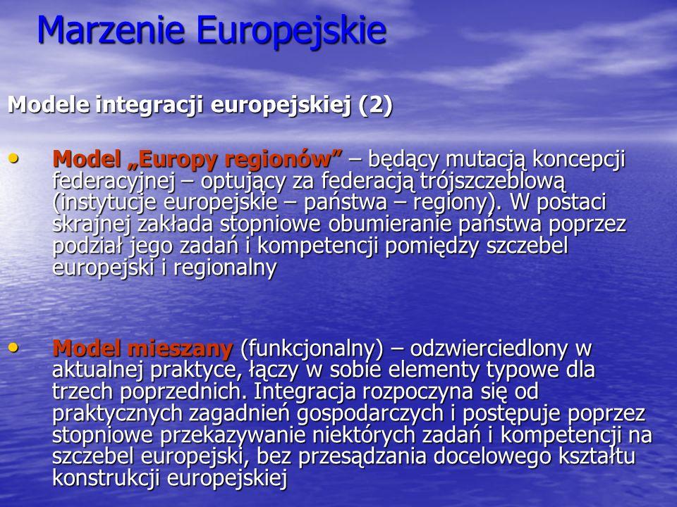 Marzenie Europejskie Modele integracji europejskiej (2)