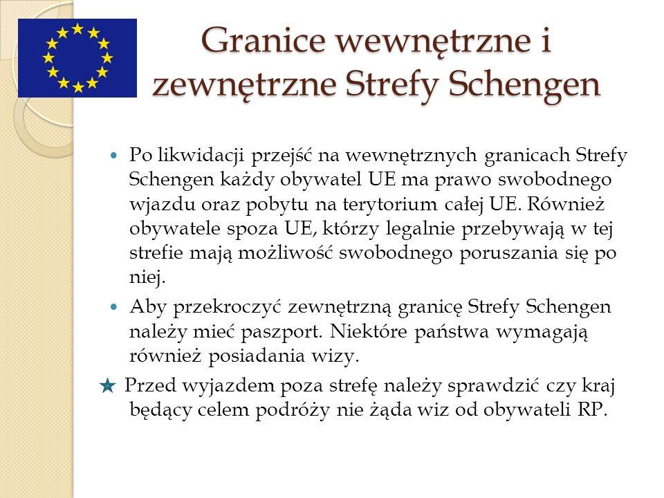 Granice wewnętrzne i zewnętrzne Strefy Schengen
