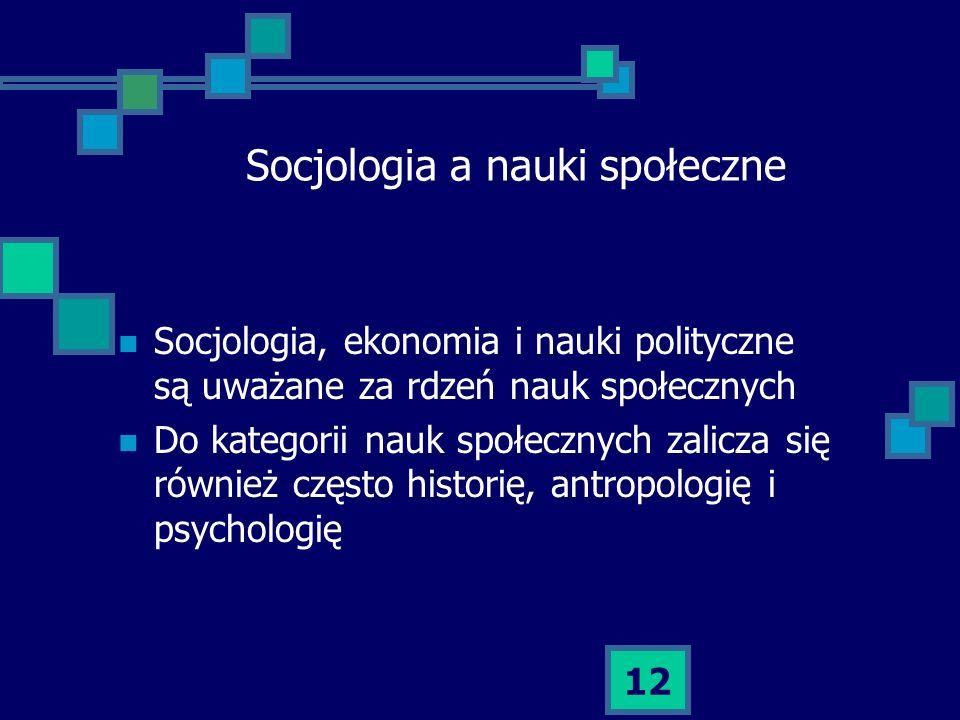 Socjologia a nauki społeczne