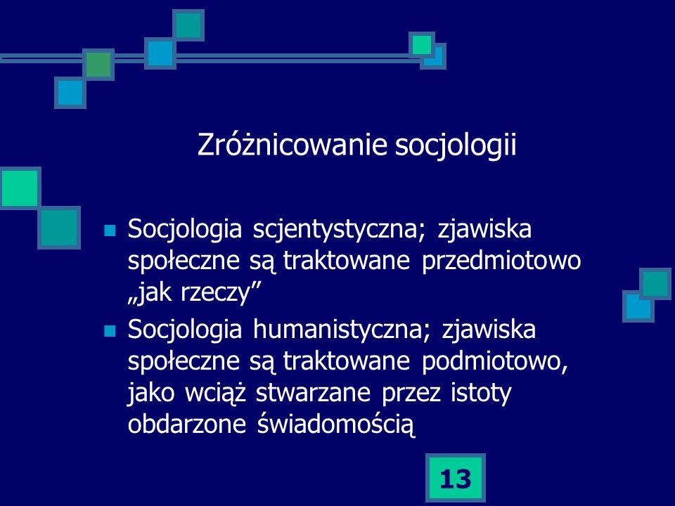 Zróżnicowanie socjologii