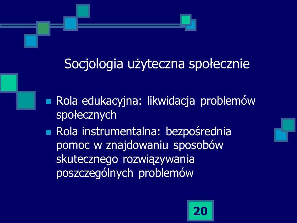 Socjologia użyteczna społecznie