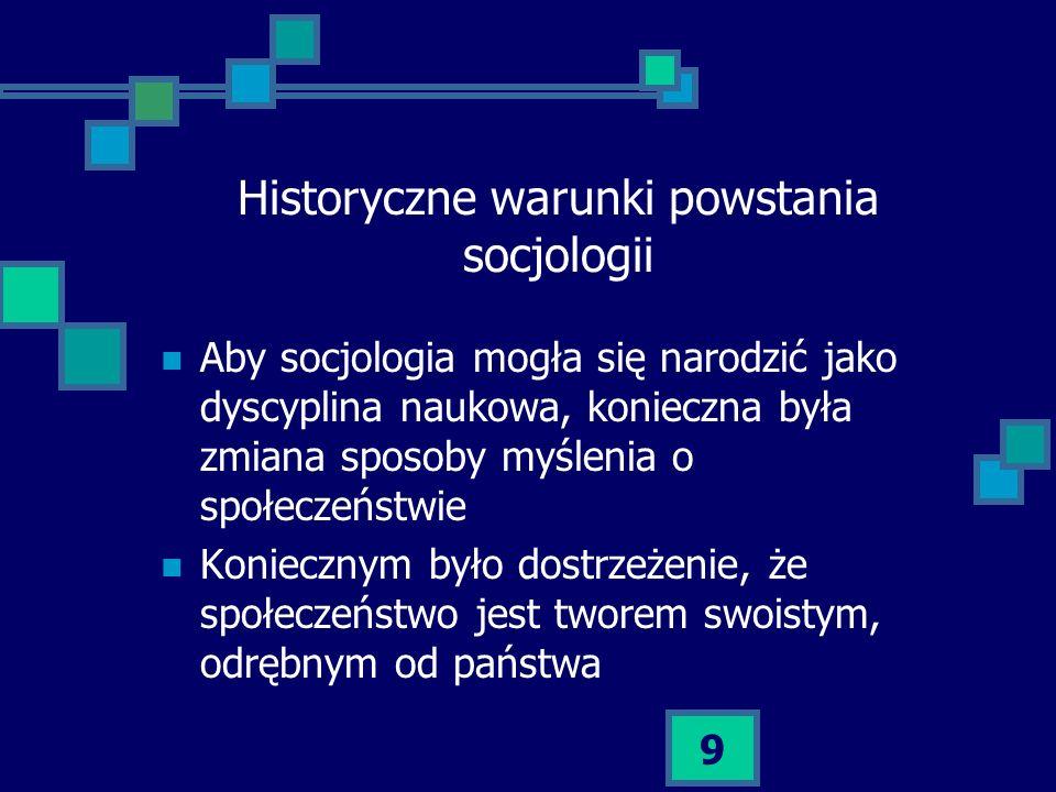 Historyczne warunki powstania socjologii