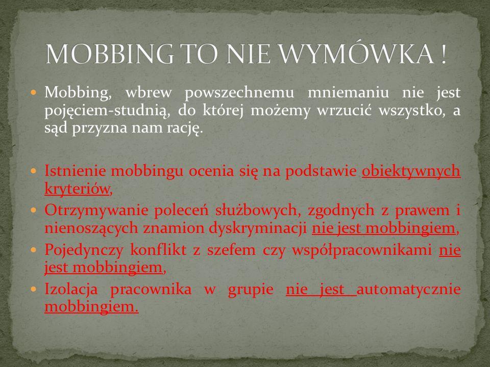 MOBBING TO NIE WYMÓWKA !