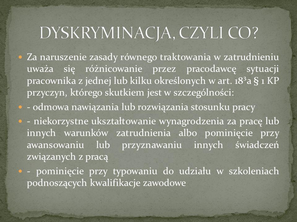 DYSKRYMINACJA, CZYLI CO