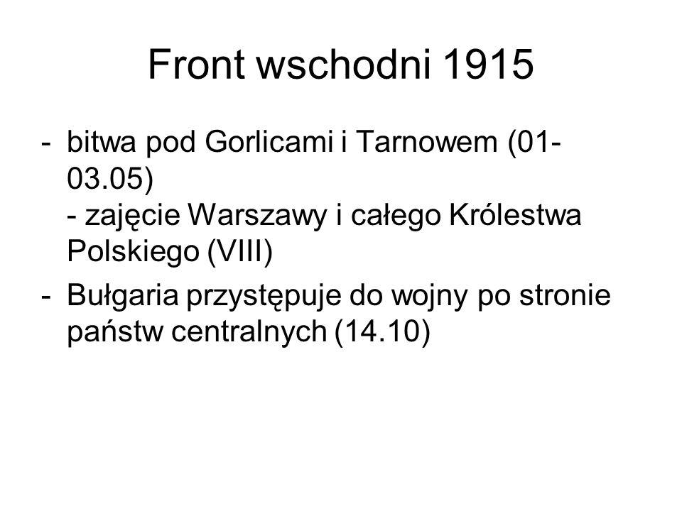 Front wschodni 1915 bitwa pod Gorlicami i Tarnowem (01-03.05) - zajęcie Warszawy i całego Królestwa Polskiego (VIII)