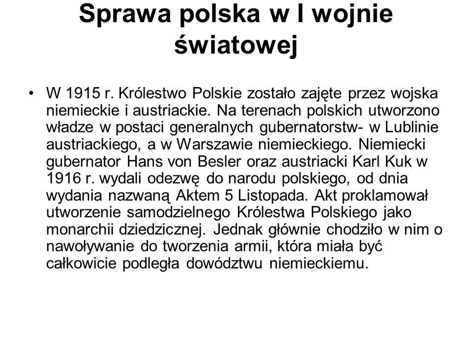 Sprawa polska w I wojnie światowej