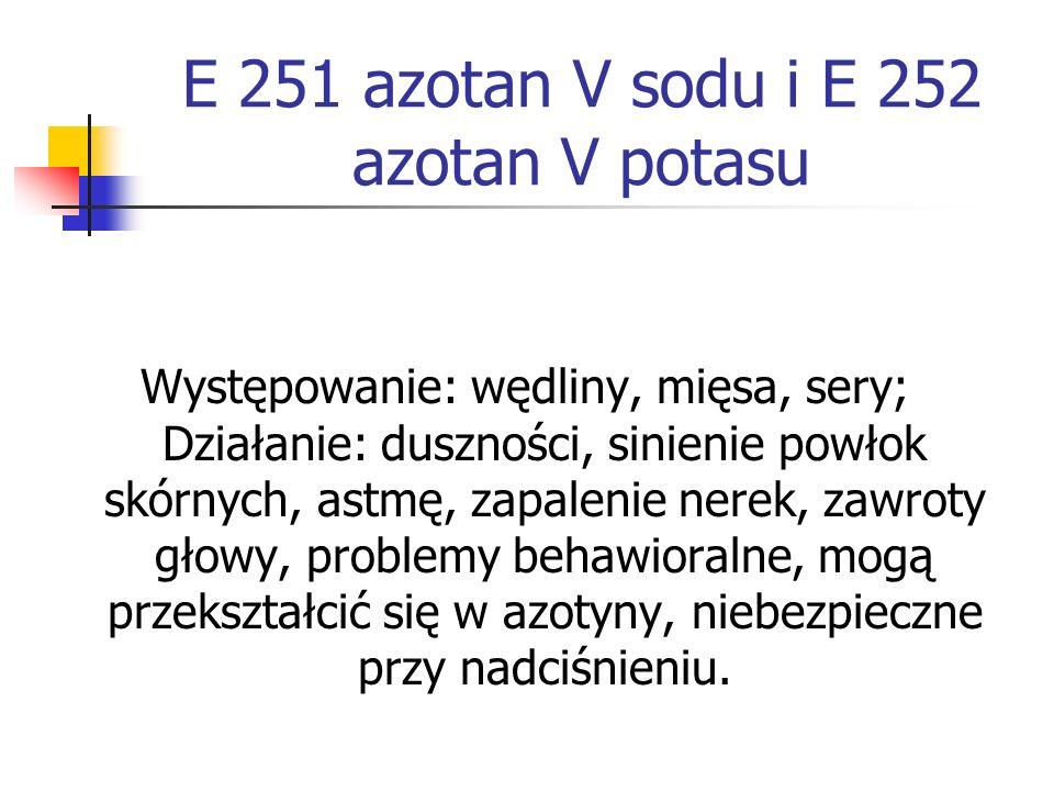 E 251 azotan V sodu i E 252 azotan V potasu