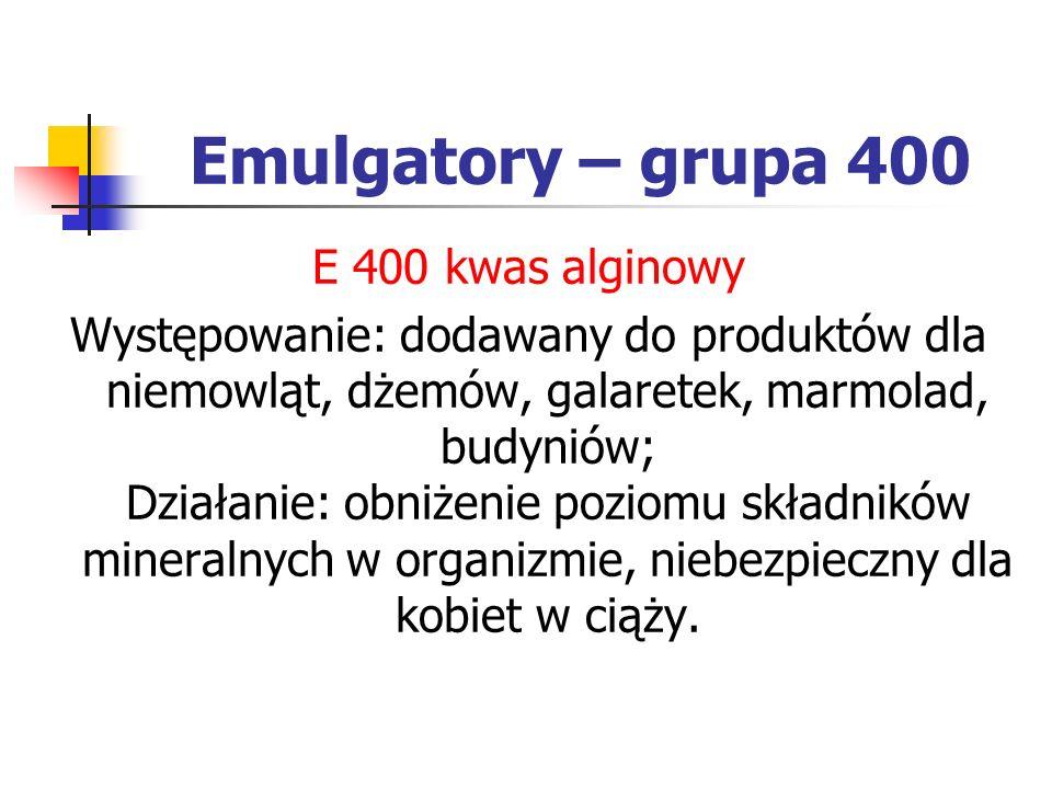 Emulgatory – grupa 400 E 400 kwas alginowy