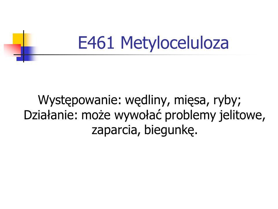 E461 MetylocelulozaWystępowanie: wędliny, mięsa, ryby; Działanie: może wywołać problemy jelitowe, zaparcia, biegunkę.