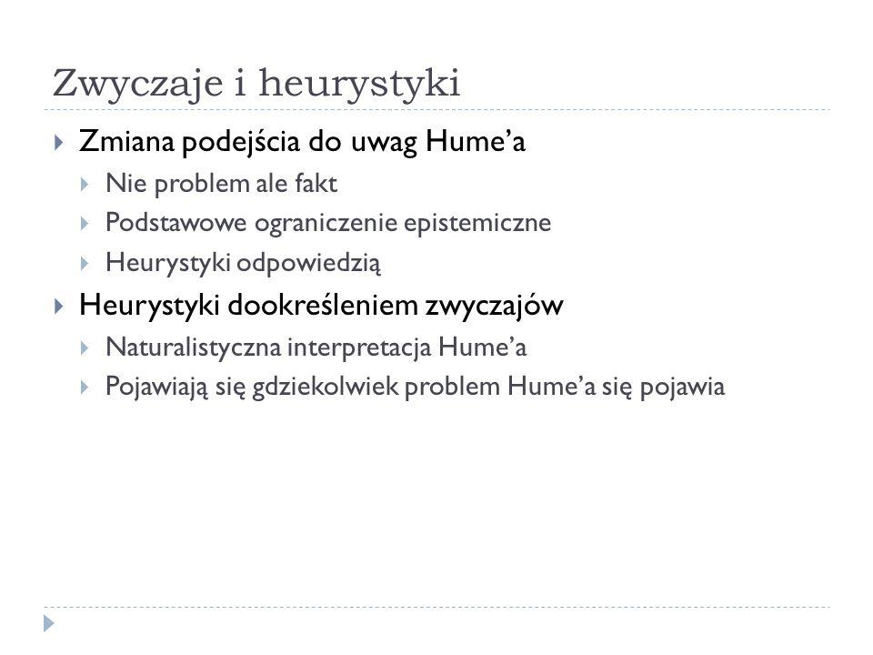 Zwyczaje i heurystyki Zmiana podejścia do uwag Hume'a