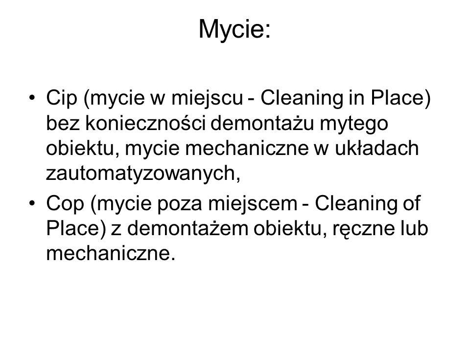 Mycie: Cip (mycie w miejscu - Cleaning in Place) bez konieczności demontażu mytego obiektu, mycie mechaniczne w układach zautomatyzowanych,