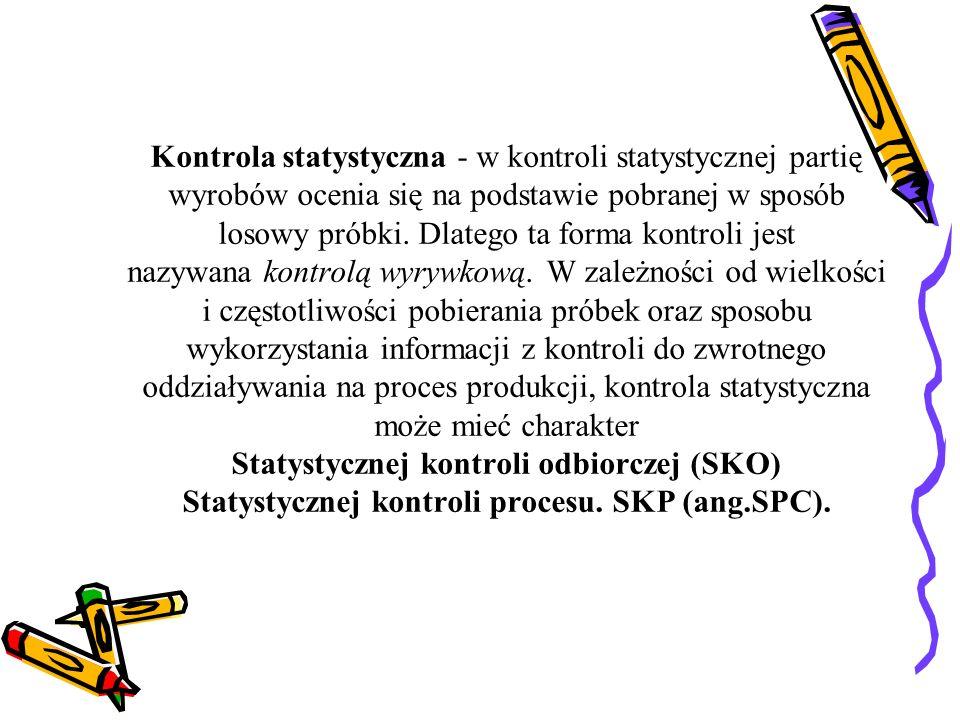 Kontrola statystyczna - w kontroli statystycznej partię wyrobów ocenia się na podstawie pobranej w sposób losowy próbki.