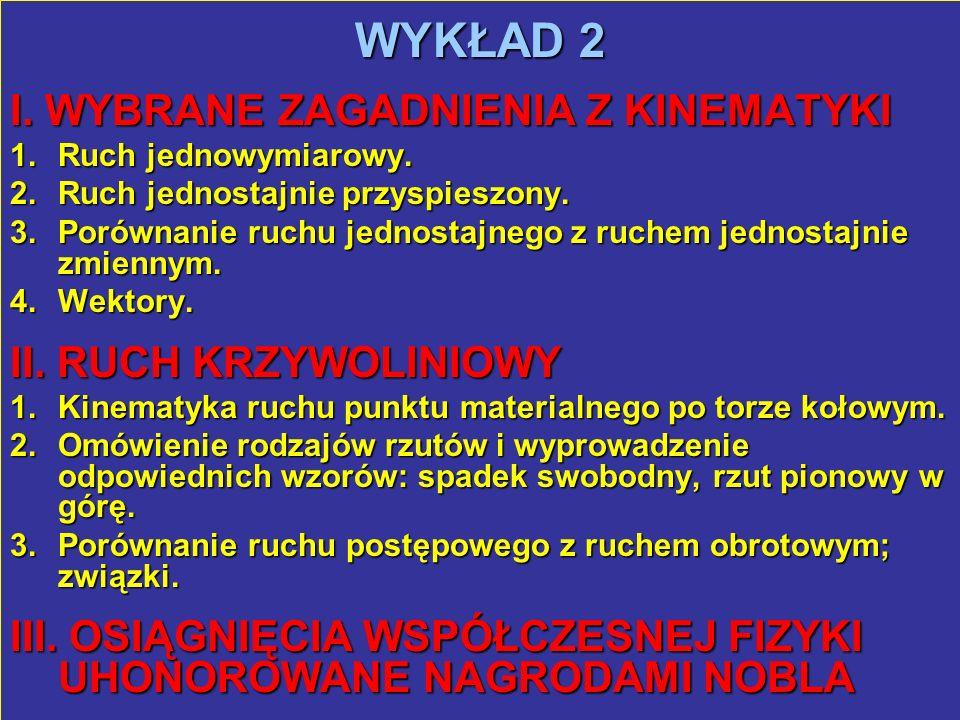 WYKŁAD 2 I. WYBRANE ZAGADNIENIA Z KINEMATYKI II. RUCH KRZYWOLINIOWY