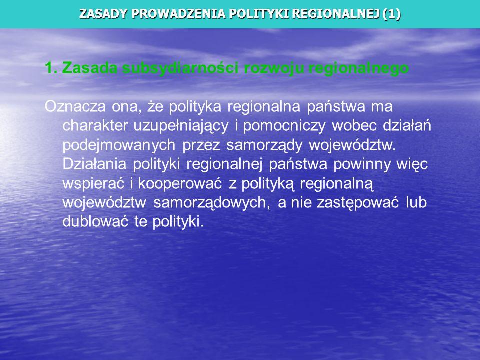 ZASADY PROWADZENIA POLITYKI REGIONALNEJ (1)
