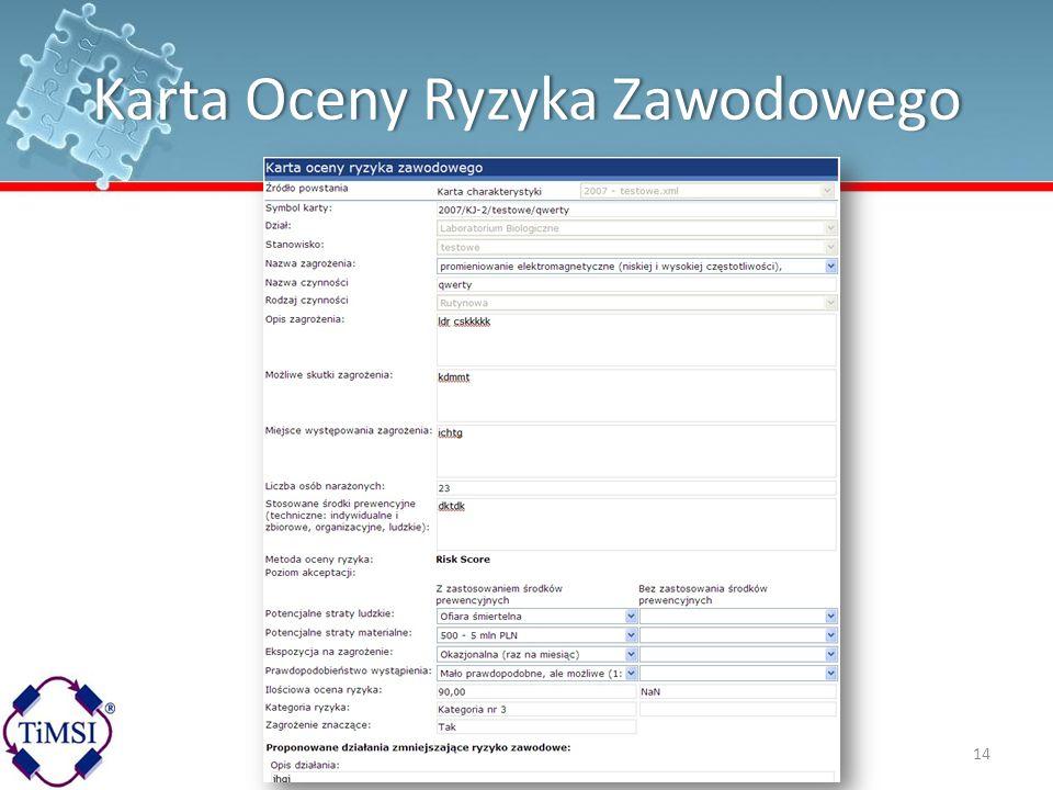 Karta Oceny Ryzyka Zawodowego