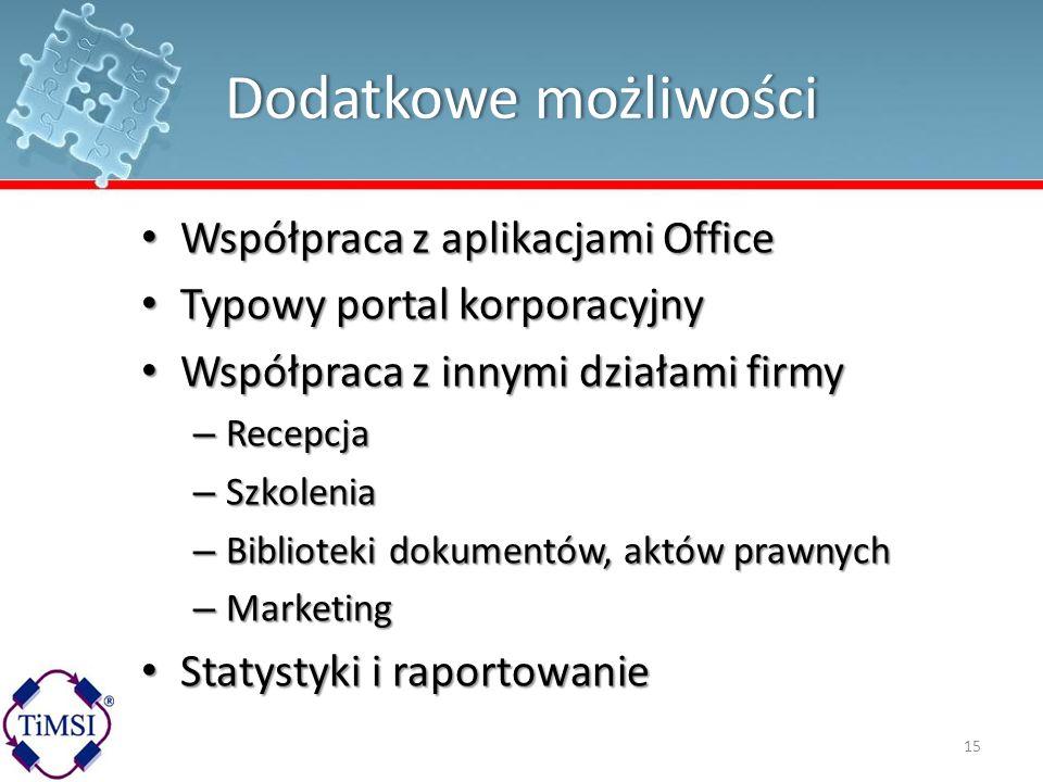 Dodatkowe możliwości Współpraca z aplikacjami Office