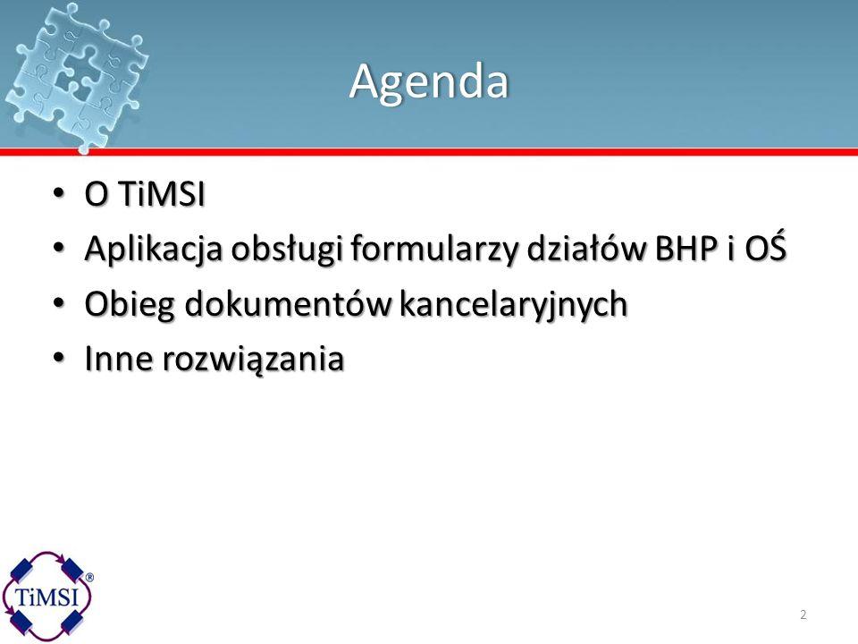 Agenda O TiMSI Aplikacja obsługi formularzy działów BHP i OŚ