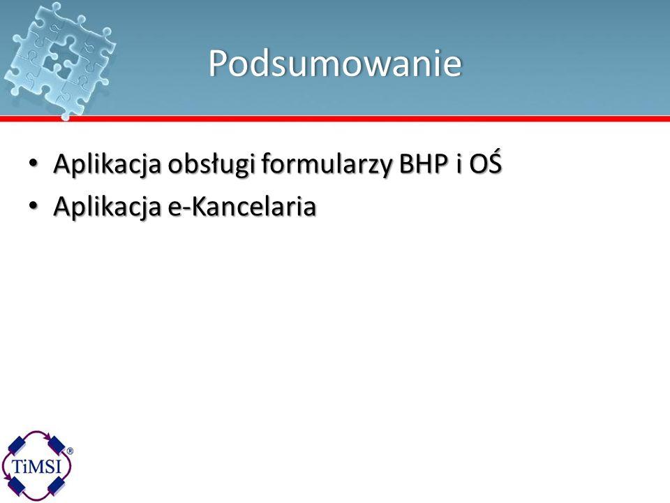 Podsumowanie Aplikacja obsługi formularzy BHP i OŚ