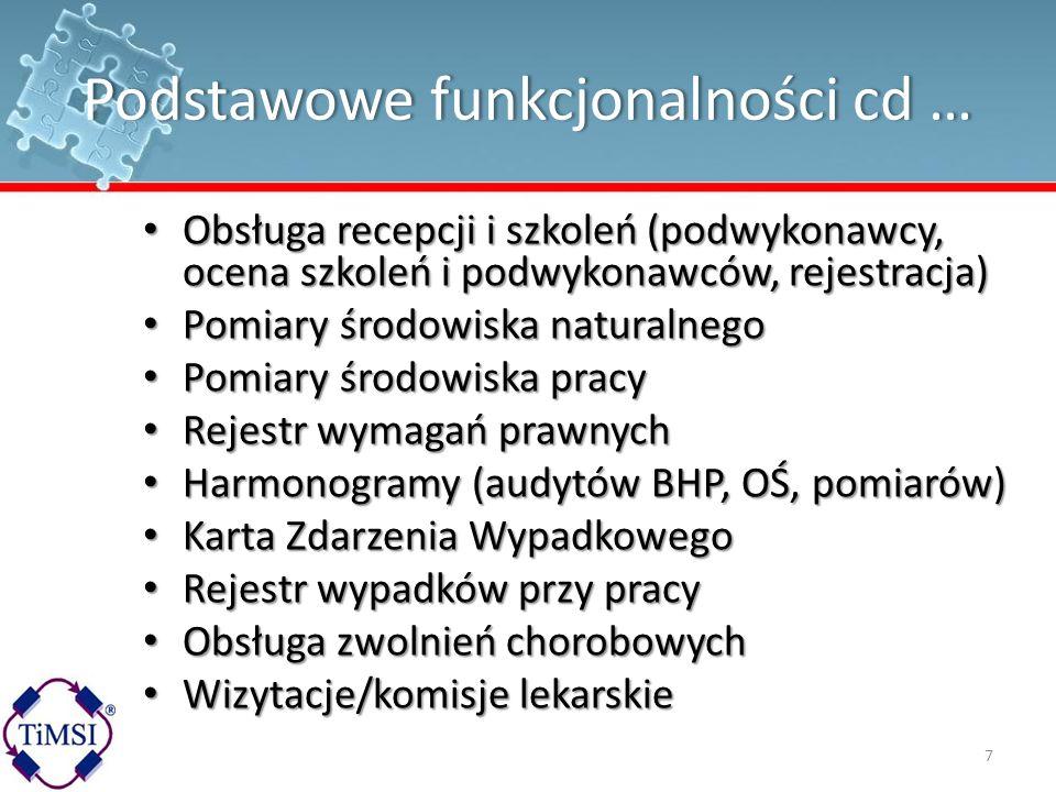 Podstawowe funkcjonalności cd …